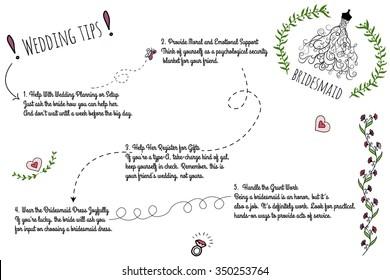 set wedding doodle infographics handdrawn elements stock vector