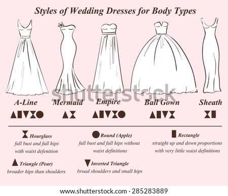 Set Wedding Dress Styles Female Body Stock Vektorgrafik Lizenzfrei