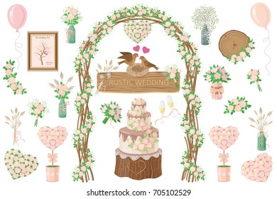 Set of wedding elements. Rustic style. Cream rose decoration. Floral arch, bouquets, cake, wine glasses, flower in pots, jars, birds on nest, balloons isolated on white. Vector flat illustration.