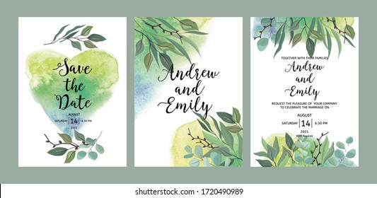 Set of wedding floral invitation, Save the Date card template. Green leaves and eucalyptus branches wreath and watercolor background