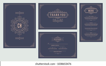 Set wedding flourishes ornaments invitations cards. Invite, thank you, rvsp and menu design. Vintage victorian frames and decorations. Vector elegant template.