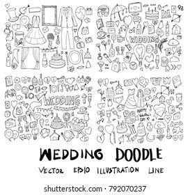 Set of Wedding Hand drawn doodle Sketch line vector scribble