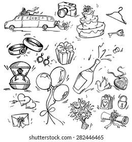Set of wedding icon Pen sketch converted to vectors.