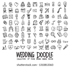 Set of wedding icons Drawing illustration Hand drawn doodle Sketch line vector