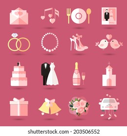 Set of wedding icons in flat style with an invitation or love letter  music  food  champagne  bride and groom  cake  gift  church  rings  jewellery  shoes  birds  bells  bouquet and bridal car in pink