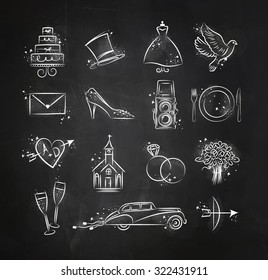 Set of wedding icons theme drawing with white ink on black paper