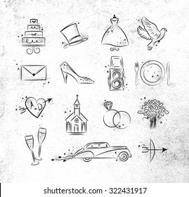 Set of wedding icons theme drawing with black ink on dirty paper