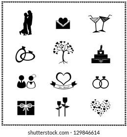 Set of wedding icons, Vector illustration