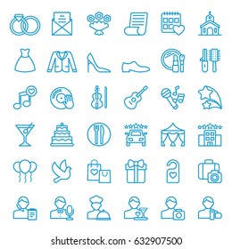 Set of wedding icons. Vector illustration