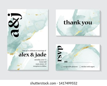 Set of wedding ink liquid card with typography. Wedding invitation concept. Tender mint gold poster, invite. Vector decorative greeting card or invitation design background - Vector.