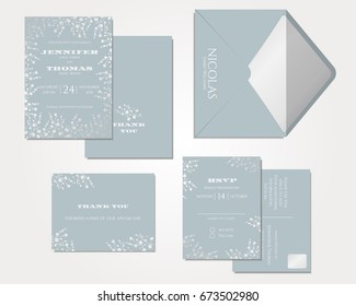 Set of Wedding Invitation Card . Baby's Breath Collection.Vector/Illustration