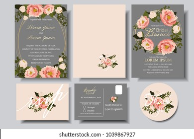 Set of Wedding invitation Card with bumming floral on gray background. Bridle shower card.RSVP.Thank you card for your wedding celebration.