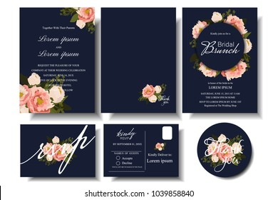 Set of wedding invitation card with floral on navy blue background. Bridal Shower template.response card.RSVP.Thank you Sticker