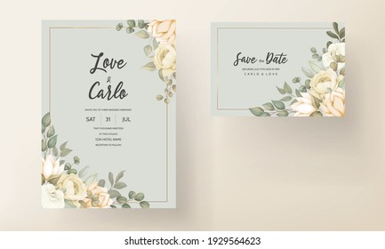 Set of wedding invitation card with flower and leaves
