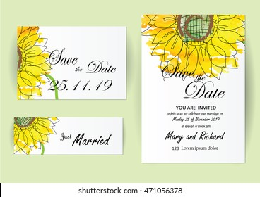 set of wedding invitation card flowers,Sunflower