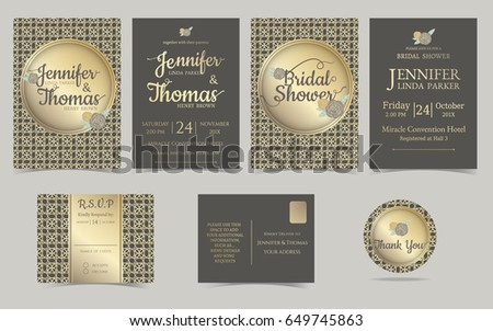 Set Wedding Invitation Card Muslim Wedding Brown Stock Vector