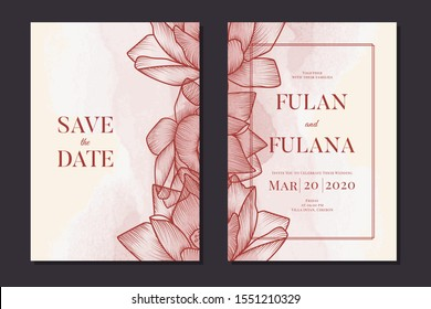 set wedding invitation card with sketch doodle hand drawn lotus flower floral outline pastel monochrome watercolor background ornament decoration vintage rustic vector illustration