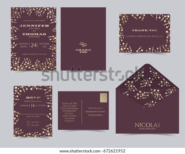 Set Wedding Invitation Card Templatebabys Breath Stock