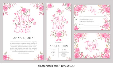 Set of wedding invitation card templates with watercolor rose flowers. Elegant romantic layout with pink roses and message for wedding greeting, Save the date cards, rsvp, thank you
