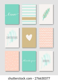 A set of wedding invitation card templates. Pastel pink, turquoise green, golden, teal and white color palette. EPS 10 file, gradient mesh used.