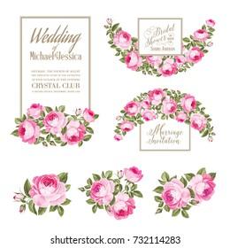 Set of wedding invitation card. Vector illustration.