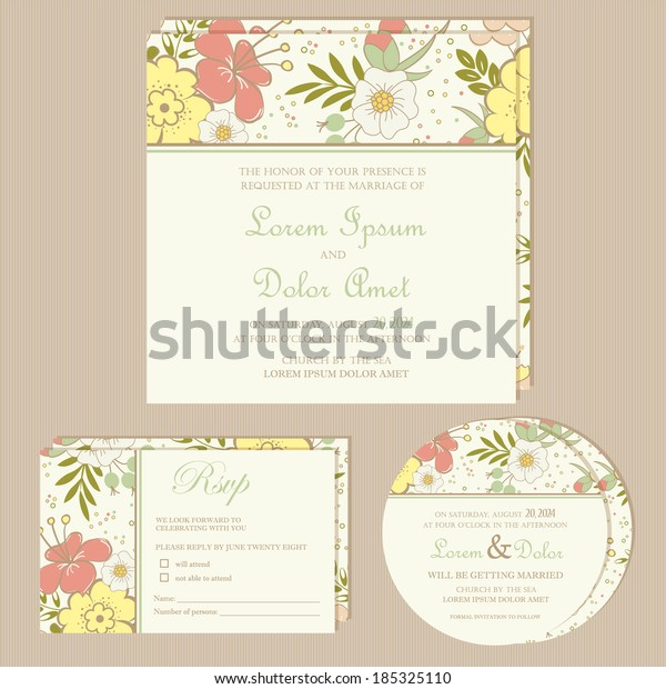 Set Wedding Invitation Cards Announcements Beautiful Stock Vector ...