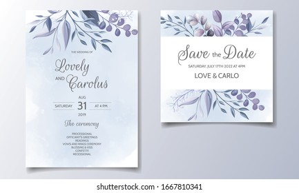 Set of wedding invitation cards with blue floral and leaves template design