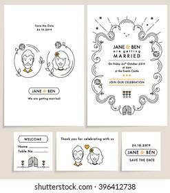 SET OF WEDDING INVITATION CARDS. wedding collection with doodle line art elements. Editable vector illustration mock up file.