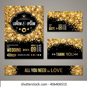Set of wedding invitation cards design. Gold confetti and black background. Vector illustration. Save the date. Retro figured label. Typographic template for your text. Glittering dust.