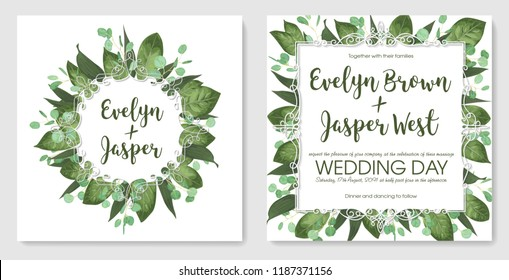 Set wedding invitation cards, invite a card. Vector watercolor style, forest greens, greens, eucalyptus, lily leaves, botanical green. Round and square exquisite white frame. Greeting card