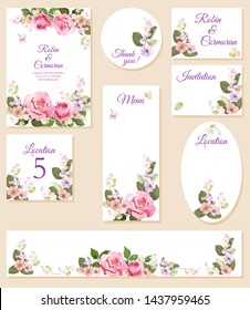 Set wedding invitation cards, layout menu, rsvp, label, save the date mock up. Templates with pink roses flowers, spring blossom. Illustration in watercolor vintage style, frames for design, vector