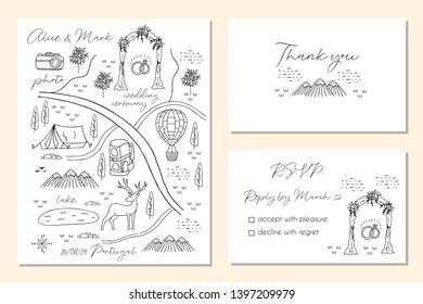 Vectores, imágenes y arte vectorial de stock sobre Map Wedding Card on