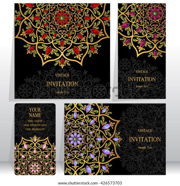 Set Wedding Invitation Cardsbusiness Cards Card Stock Vector