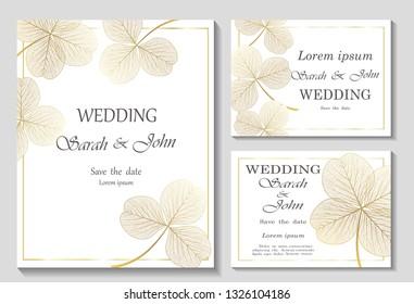 Eine Hochzeitseinladung mit Kleeblatten, einzeln auf Weiß. Vektorillustration.