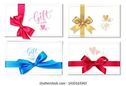 Set of wedding invitation design template isolated on white background. Gift card with red, blue, golden bow and ribbon. Vector illustration