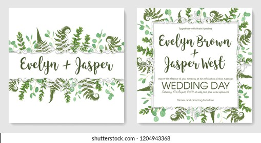 set for wedding invitation, greeting card, save date, banner. Vintage frame with green fern leaf, boxwood and eucalyptus sprigs isolated on white background. Watercolor