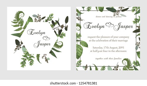 set for wedding invitation, greeting card, save date, banner. Vintage square, round frame with green fern leaf, boxwo od and eucalyptus sprigs isolated on white background. Watercolor