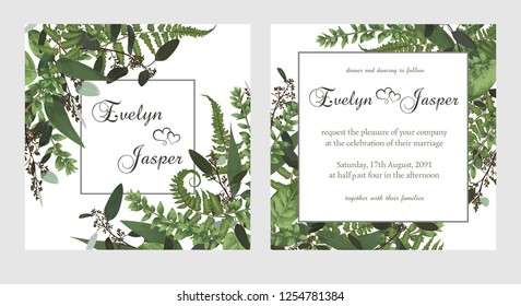 set for wedding invitation, greeting card, save date, banner. Vintage square frame with green fern leaf, boxwo od and eucalyptus sprigs isolated on white background. Watercolor