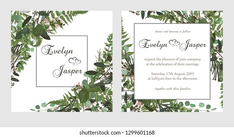 Set for wedding invitation, greeting card, save date, banner. Fern leaf, boxwood, brunia and eucalyptus. Square, round on white background. Vector elegant watercolor rustic, template