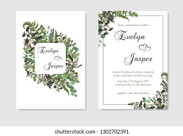 Set for wedding invitation, greeting card, save date, banner. Fern leaf, boxwood, brunia and eucalyptus. Square, geometric figure, vertical rectangle on white background. Vector elegant template