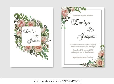 Set for wedding invitation, greeting card, save date, banner. Flowers, leafs, boxwood, brunia and eucalyptus, pink rose. Decorative square frame. Vector watercolor template