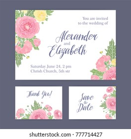 Set of wedding invitation, Save The Date card and Thank You note templates decorated with gorgeous blooming pink and yellow ranunculus flowers, buds and leaves. Elegant floral vector illustration.