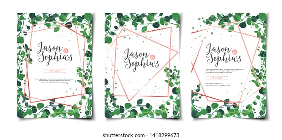 Set of wedding invitation template layout with greenery foliage border and frame
