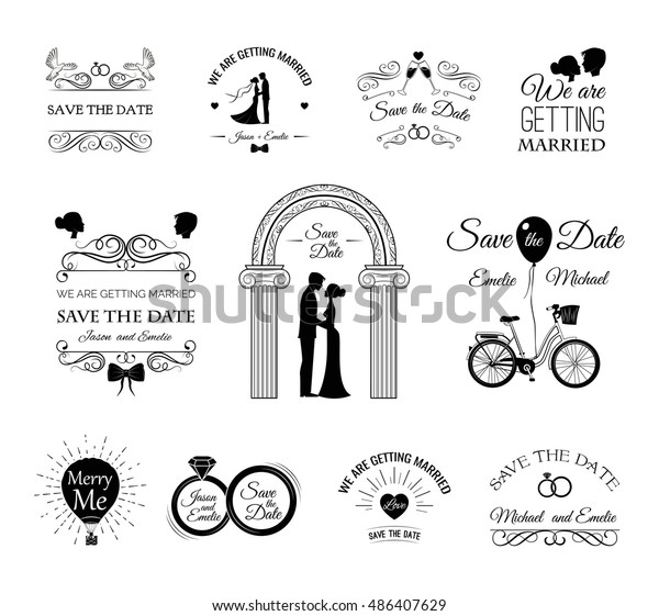 Set Wedding Invitation Template Vintage Design Stock Vektorgrafik