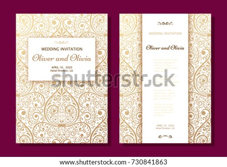 Set Wedding Invitation Templates Cover Design Stock Vector Royalty