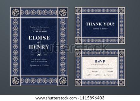 Set Wedding Invitation Thanks Rsvp Cards Stock Vector Royalty Free