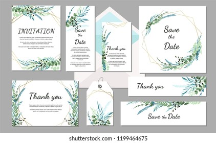 Set Wedding invitation vintage card with leaves and geometric frames. Vector illustration