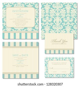 Set of wedding invitations and announcements with vintage background artwork. Ornate damask background
