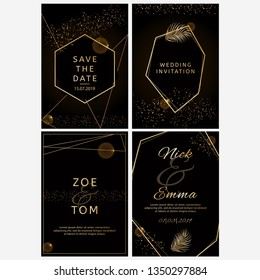 Set of wedding invitations. Black and golden geometric design. Luxury collection.