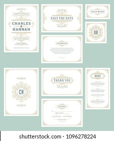 Set wedding invitations cards flourishes ornaments. Invite, save the date, table number and information design and response. Vintage victorian frames and decorations. Vector elegant template.